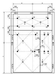 Конструкции строительные Противопожарные двери и ворота Метод  Рисунок 17 Схема установки термопар на коробке распашных однопольных и двупольных дверей ворот люков