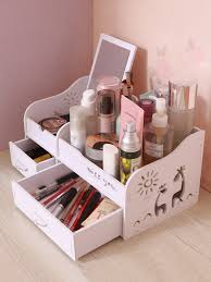 Buy <b>Makeup Storage Box</b> Wooden Double <b>Drawers</b> Type Desk ...