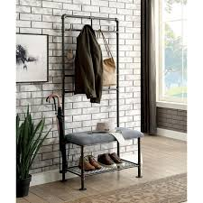 Coat Rack Hallway Furniture Of America Revo Industrial Sand Black 100inch Coat Rack 31