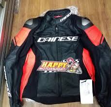 a photograph showing the front of the latest dainese leather jacket known as racing 3 pelle