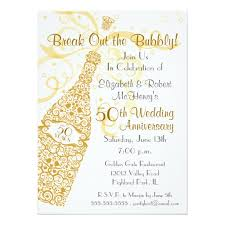 50 Golden Years Champagne Celebration Paper Invitation Card