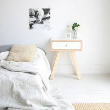 scandi style furniture. white scandi bedside table in minimalist room style furniture a