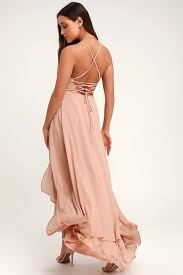 In <b>Love Forever</b> Nude Lace-Up High-Low Maxi Dress $84