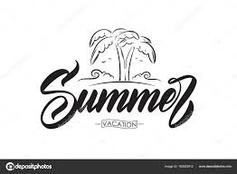 ベクトル イラスト 線のヤシの木と夏休みの手書き筆文字ビーチや海の波