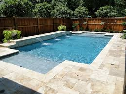 backyard design with pool. Terrific Non Slip Pool Deck Materials With Travertine Around Swimming Pools And Wood Shadow Box Fence · Backyard Design