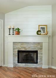 Tile Fireplace Makeover Farmhouse Fireplace Makeover Reveal Little Red Brick House