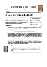 Cereal Box Book Report Form Printable Pdf Download