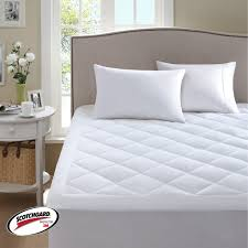 luxury white queen memory foam mattress topper with upholstered headboard  and ikea side table for elegant