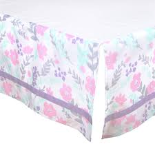 the peanut shell 3 piece baby crib bedding set pink and purple fl and mint green dot 100 cotton quilt crib skirt and sheet com