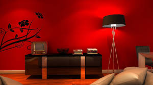 ... Living Room, Beautiful Red Paint Wall Design Ideas Black High Gloss  Wood Credenza Black Tripod ...