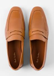 top down view men s tan leather glynn penny loafers