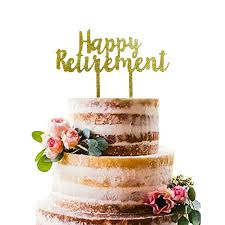 Amazoncom Gold Happy Retirement Acrylic Cake Topper Retirement