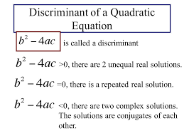 discriminant of a quadratic equation is called a discriminant 0 there are 2 unequal