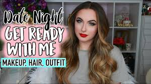 get ready with me date night valentines day makeup hair outfit
