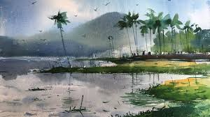 watercolor landscape painting demonstration on the spot by prashant sarkar