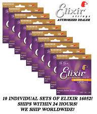 10 sets elixir 16052 nanoweb acoustic guitar strings light 12 53 phosphor bronze