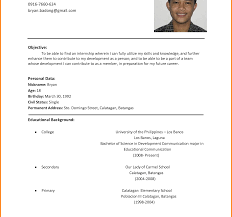 Good Simple Resume Examples Simple Student Resume Format Within Templates For High School 23
