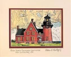 Paintings On Nautical Charts Details About Block Island Se Lighthouse Nautical Chart Art Print Painting Gift Southeast Bi