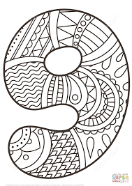Small Picture Number 9 Zentangle coloring page Free Printable Coloring Pages