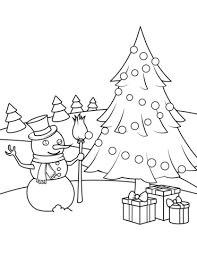 christmas tree with presents coloring pages. Modren Presents Snowman Christmas Tree And Presents Coloring Page To With Coloring Pages R