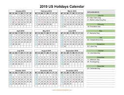 2019 Calendar With Us Holidays