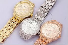 new mens geneva watches round gold stainless steel fashion geneva watchband steel movement quartz watch head diameter approx 3 2cm watchband approx 24cm length 2cm width dhl shipping geneva style
