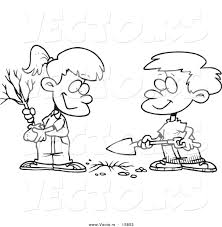 Small Picture Vector of a Cartoon Boy and Girl Planting an Arbor Day Tree