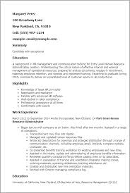 Entry Level Human Resource Administration Resume Template Best