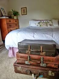 Creative Idea:Bedroom Decor With Large White Comfort Bed Near Brown Vintage  Suitcase Drawer Bedroom