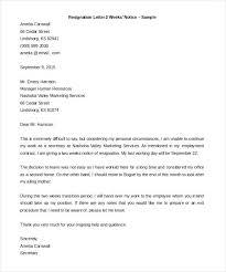 One Weeks Notice Letter Letter Of Resignation 2 Weeks Notice Sample One Week Pdf Komphelps Pro