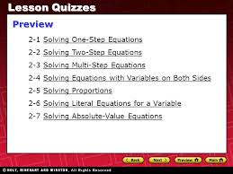 lesson quizzes preview 2 1 solving one step equations
