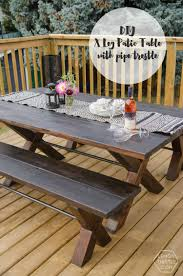 diy patio table. Interesting Table DIY X Leg Patio Table With Pipe Trestle With Diy