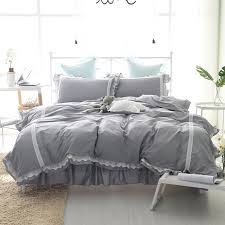awesome princess style bedding set gray bed skirt lace duvet cover gray bedding set designs