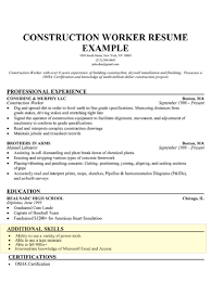 construction worker resume example skills resume examples