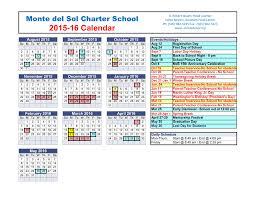 School Calendar Template 2015 2020 Vertex42 Calendar Template Monte Del Sol Charter School