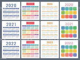 Takvim 2020 2021 2022 Yıl Cep Takvimi Renkli Set Hafta Pazar Günü Başlıyor  Temel Kılavuz Stok Vektör Sanatı & 2020'nin Daha Fazla Görseli - iStock