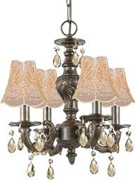 antique french reion crystal chandelier in bronze finish with gold and pearl beaded on lace shades