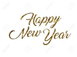 Golden Glitter Isolated Hand Writing Word Happy New Year On White