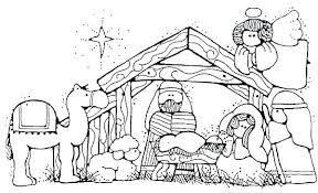 Manger Scene Coloring Page Suzannecowlescom