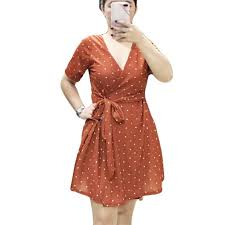 Wrap <b>Dress</b> ( Crepe <b>Fabric</b> ) Casual <b>Dress</b> Polka Plain <b>Stripes Floral</b> ...