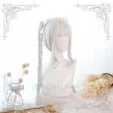 Cream White <b>Lolita Wig</b> Braids Ponytail JK Harajuku Fairy Beige ...