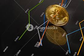 Gold Bitcoin Standing On Financial Charts For Cryptocurrency
