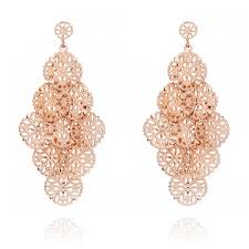 ingenious rose gold chandelier earrings with filigree discs