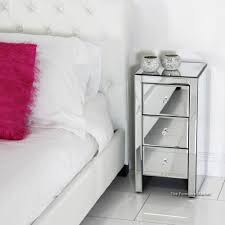 Mirrored Night Stands Bedroom Bedroom Minimalist 3 Drawer Mirrored Nightstand Chic Crystal