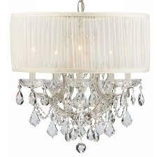 crystorama bwood 6 light crystal chrome drum shade mini chandelier i
