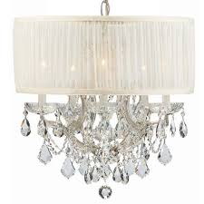 crystorama bwood 6 light crystal chrome drum shade mini chandelier i
