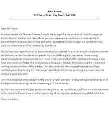 Hotel Cover Letter Examples For Hospitality Industry Sample