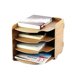 diy book stand office curved design wood stationery holder 4 layer file organizer book stand holder