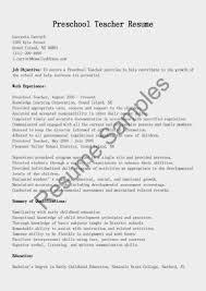 Objective On A Resume Samples Internship For Preschool Teacher