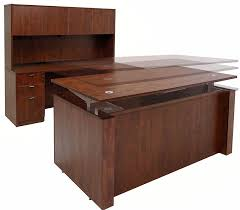 height adjustable office desk. Adjustable Height U-Shaped Executive Office Desk In Cherry S
